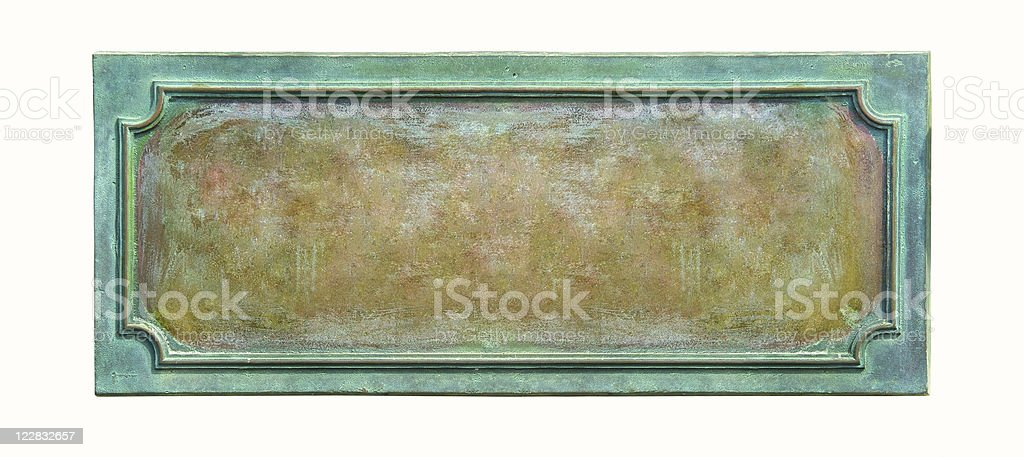 Antique bronze plate on white background stock photo
