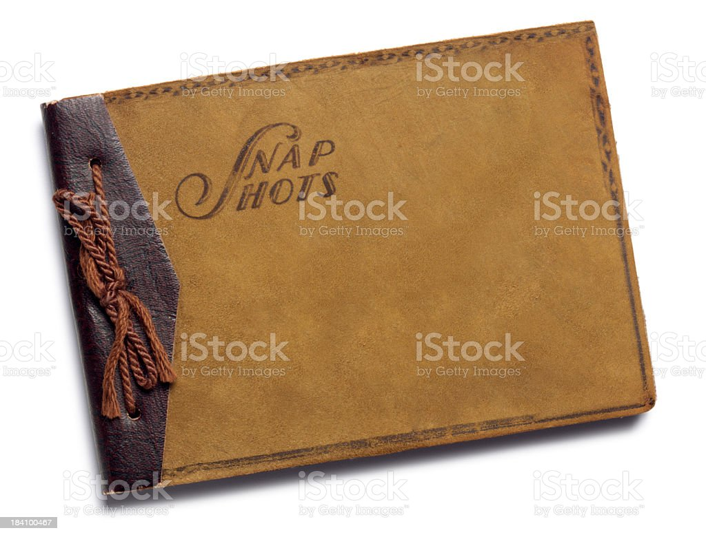 Antique brown suede scrpabook isolated on white background royalty-free stock photo