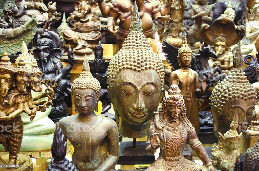 Antique Buddha Statues, Bangkok, Thailand stock photo