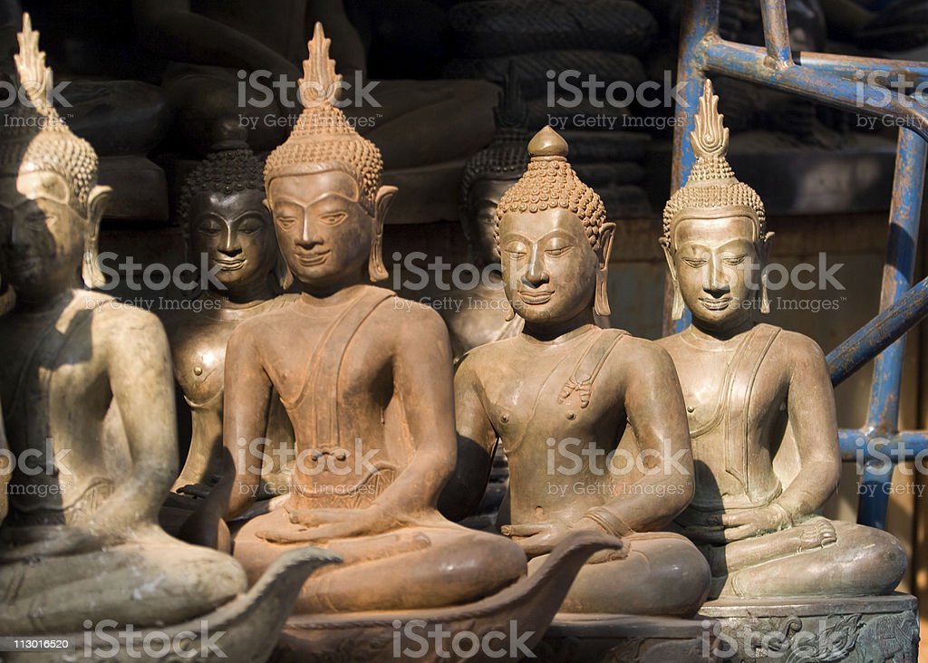 Antique Buddha statues in Bangkok, Thailand royalty-free stock photo