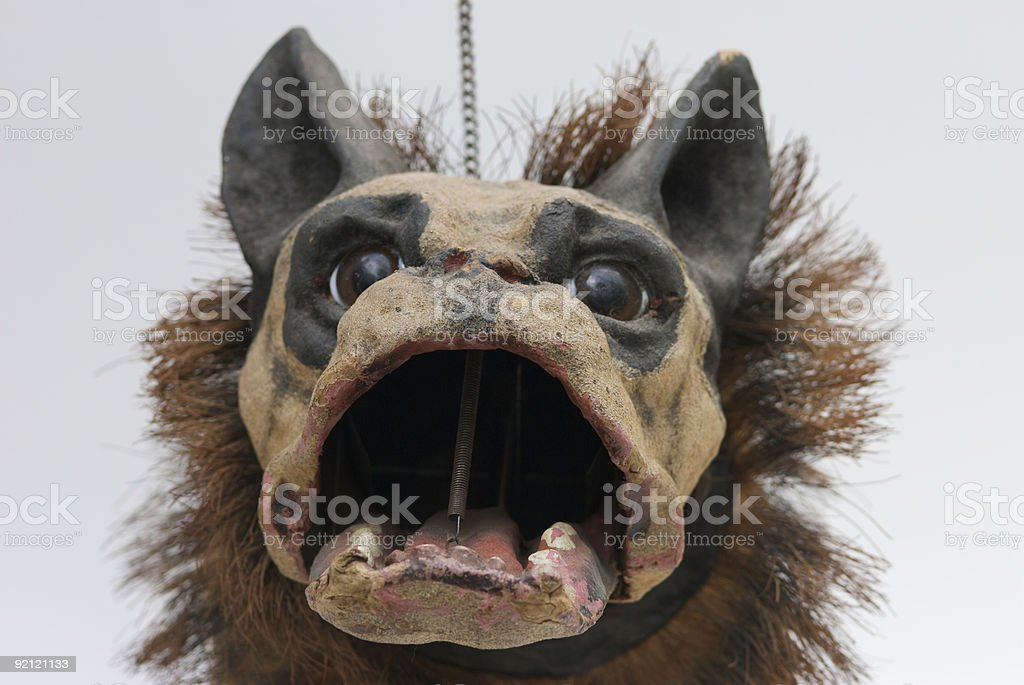Antique Bulldog with Mouth Opened  stock photo