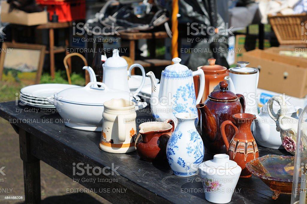 antique cafe pott China Blue of Tiefenfurt on flea marke stock photo