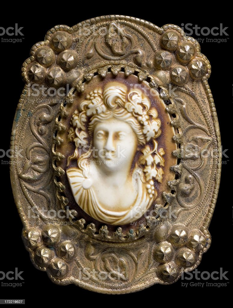 Antique cameo brooch (macro) stock photo