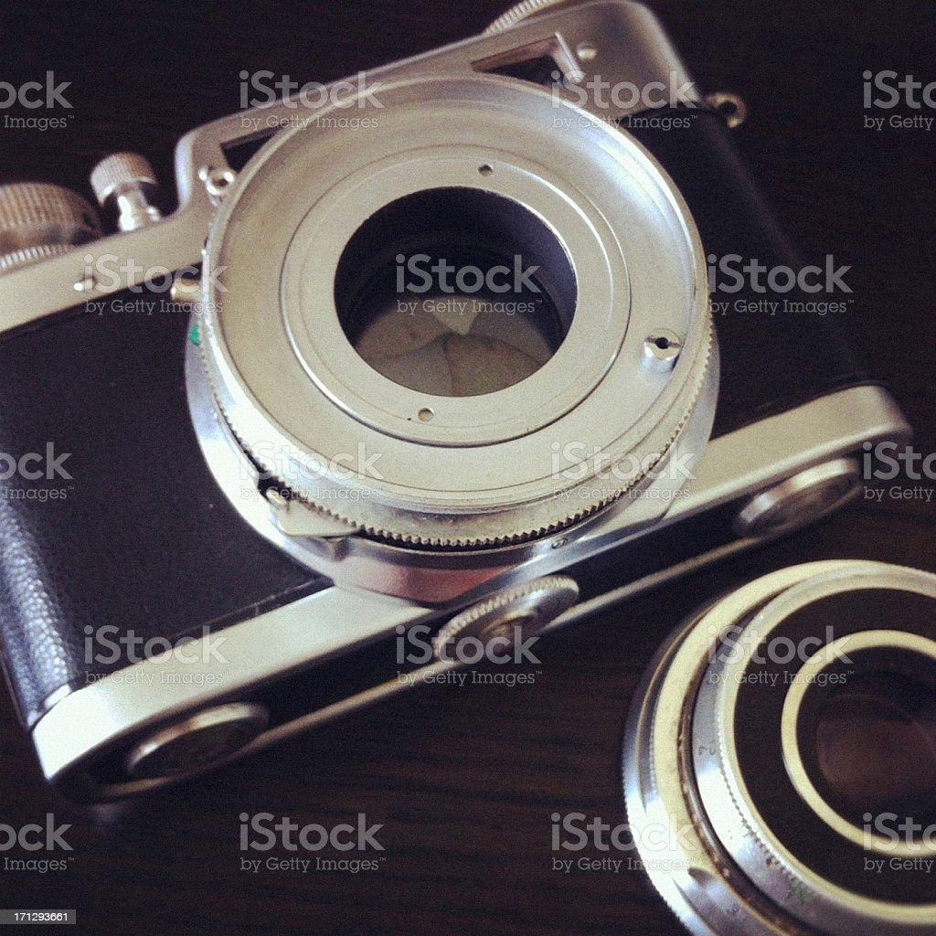Antique Camera on Wood background stock photo
