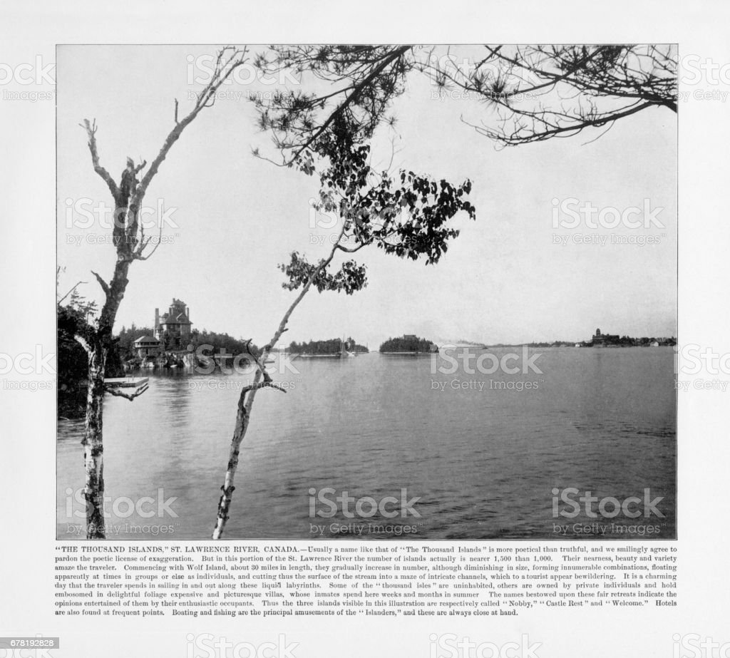 Antique Canadian Photograph: The Thousand Islands, Saint Lawrence River, Canada, 1893 stock photo