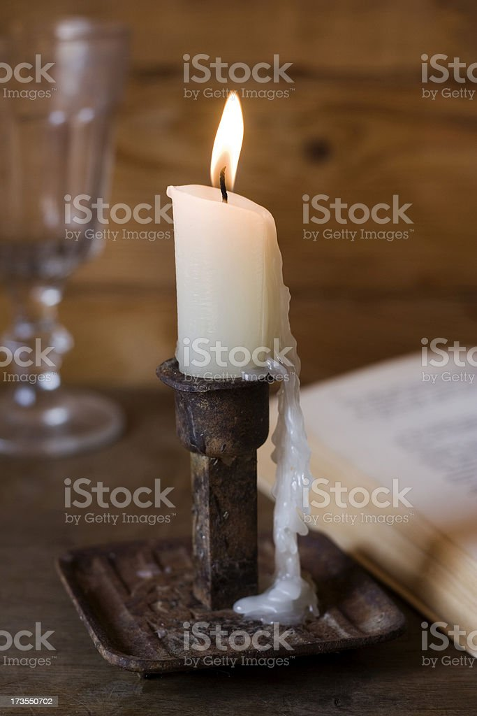 Antique candlestick stock photo