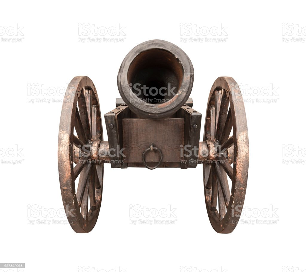 Antique cannon isolated. stock photo