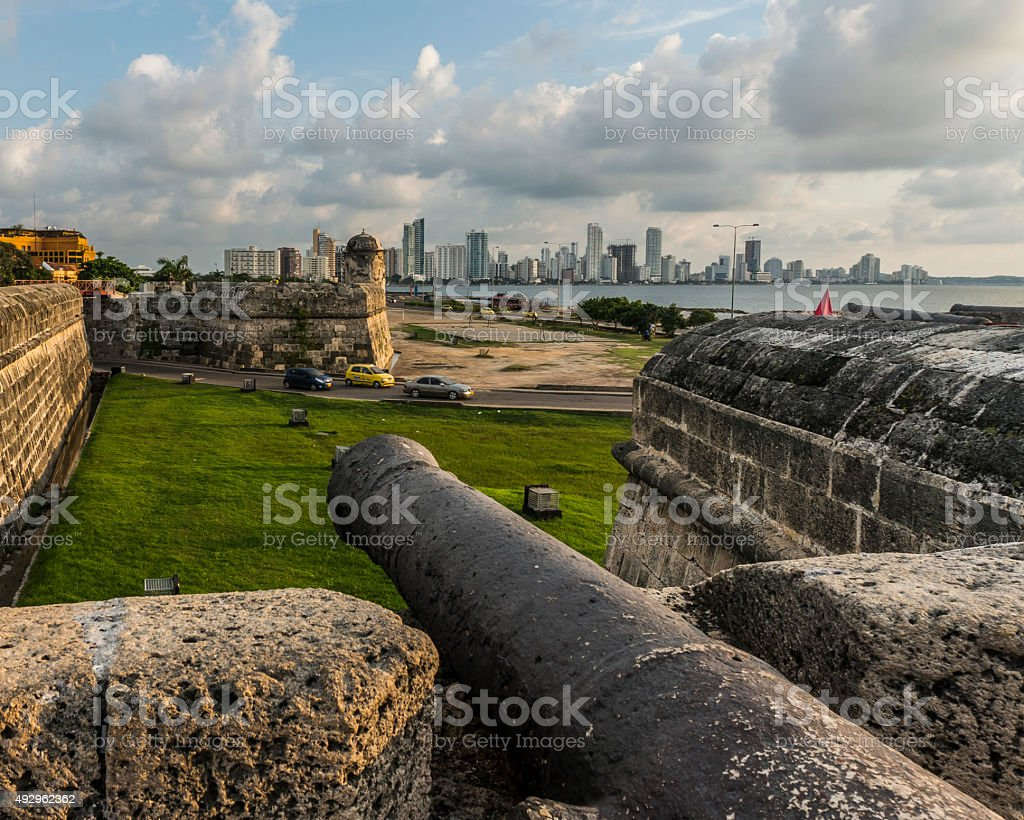 Antique cannon on the walls of Cartagena, Colombia. stock photo