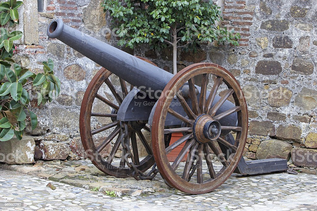 Antique Canon in castle in Spain stock photo