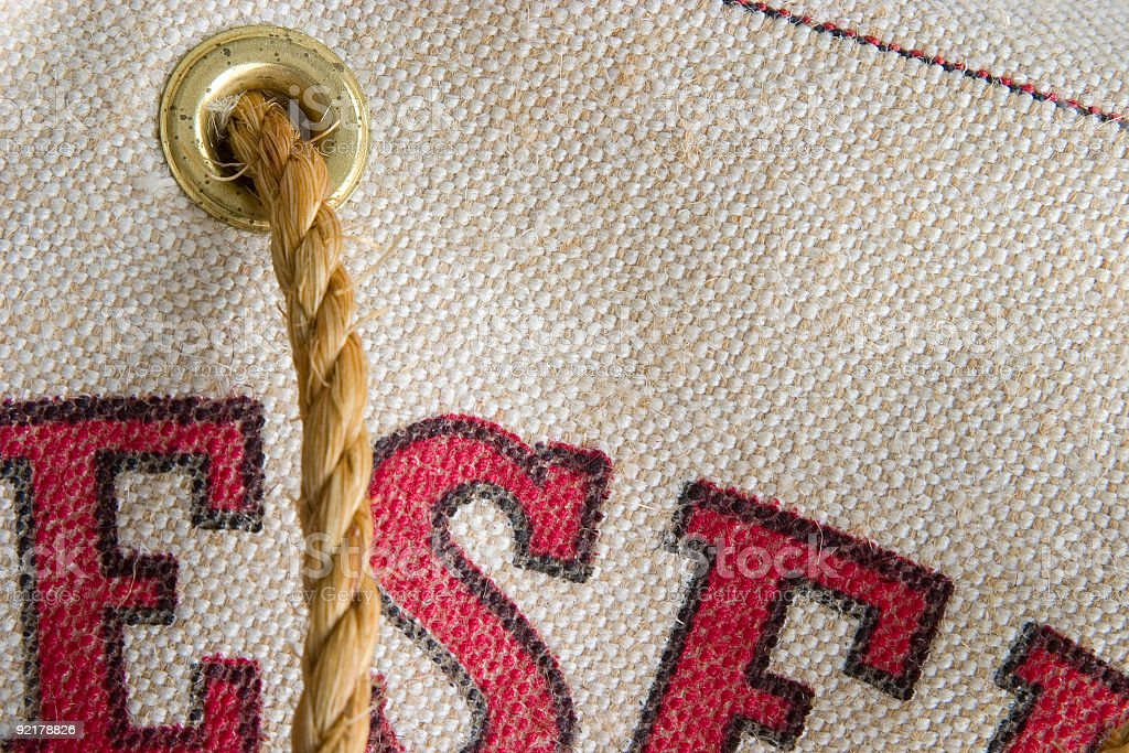 Antique Canvas Water Bag Detail royalty-free stock photo