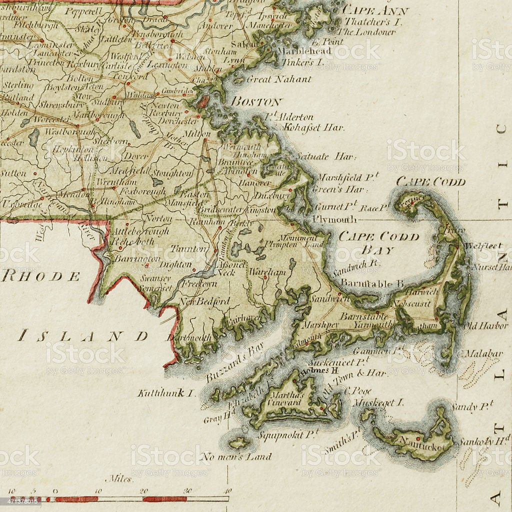 Antique Cape Cod Map stock photo