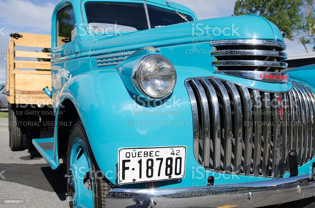 Antique Car: Chevrolet Truck Blue 1942 stock photo