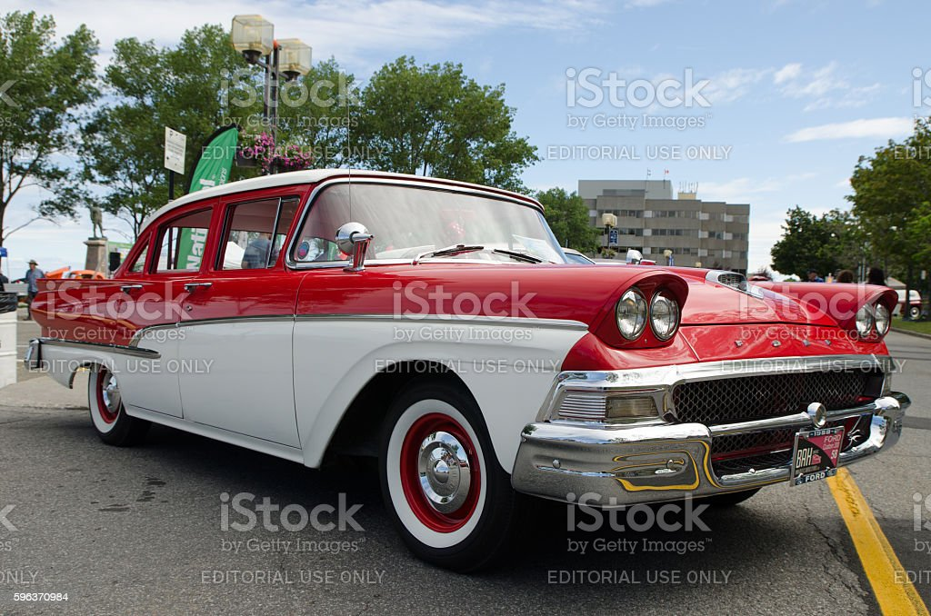 Antique Car: Ford Custom 300, 1958, white and red stock photo