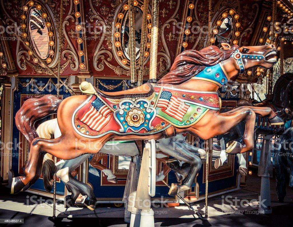 antique carousel merry go round horse stock photo