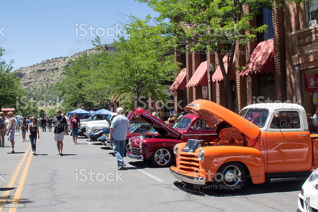 Antique cars at a Classic Car Show in Durango stock photo