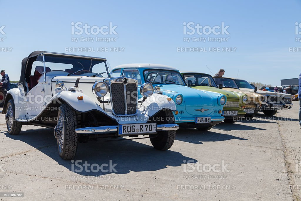 antique cars stands on oldtimer show stock photo