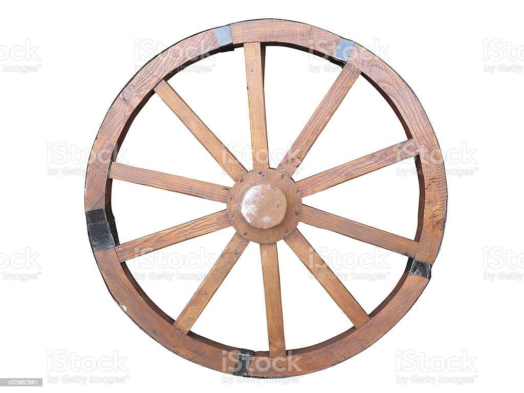 Carro Antigo volante de madeira e ferro-lined isolado foto de stock royalty-free