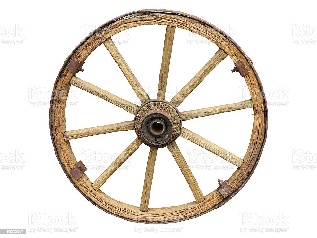 Antique Cart Wheel made of wood and iron-lined isolated stock photo