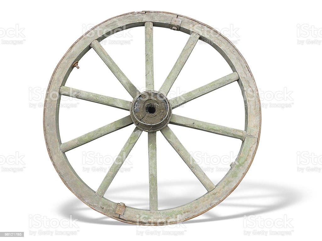 Carro Antigo volante de madeira e ferro-lined, isolado foto de stock royalty-free