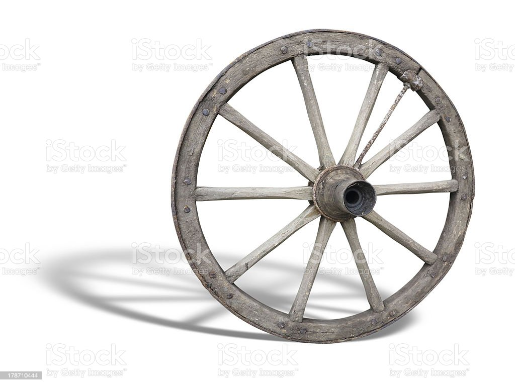 Antique Cart Wheel made of wood and iron-lined with shadow stock photo