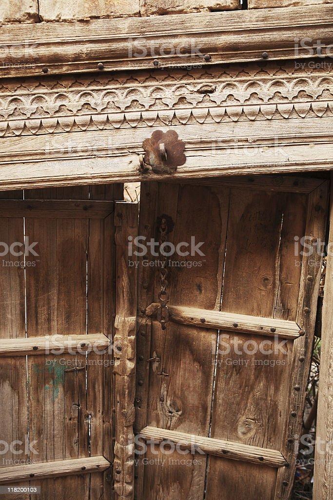 Antique Carved door frame stock photo