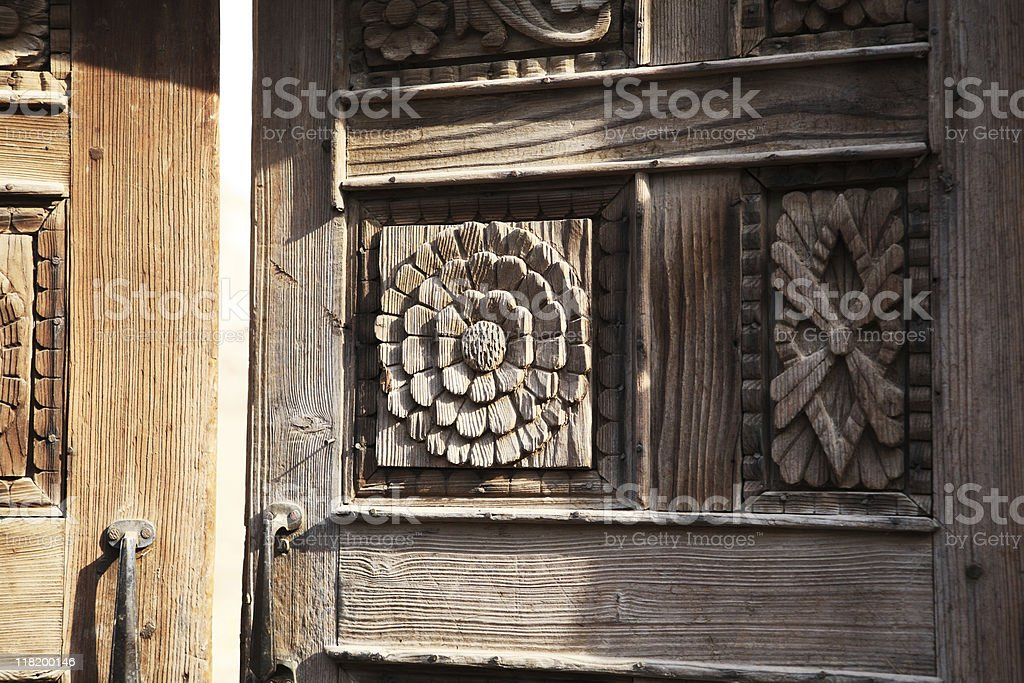 Antique Carved Wood panel Door royalty-free stock photo