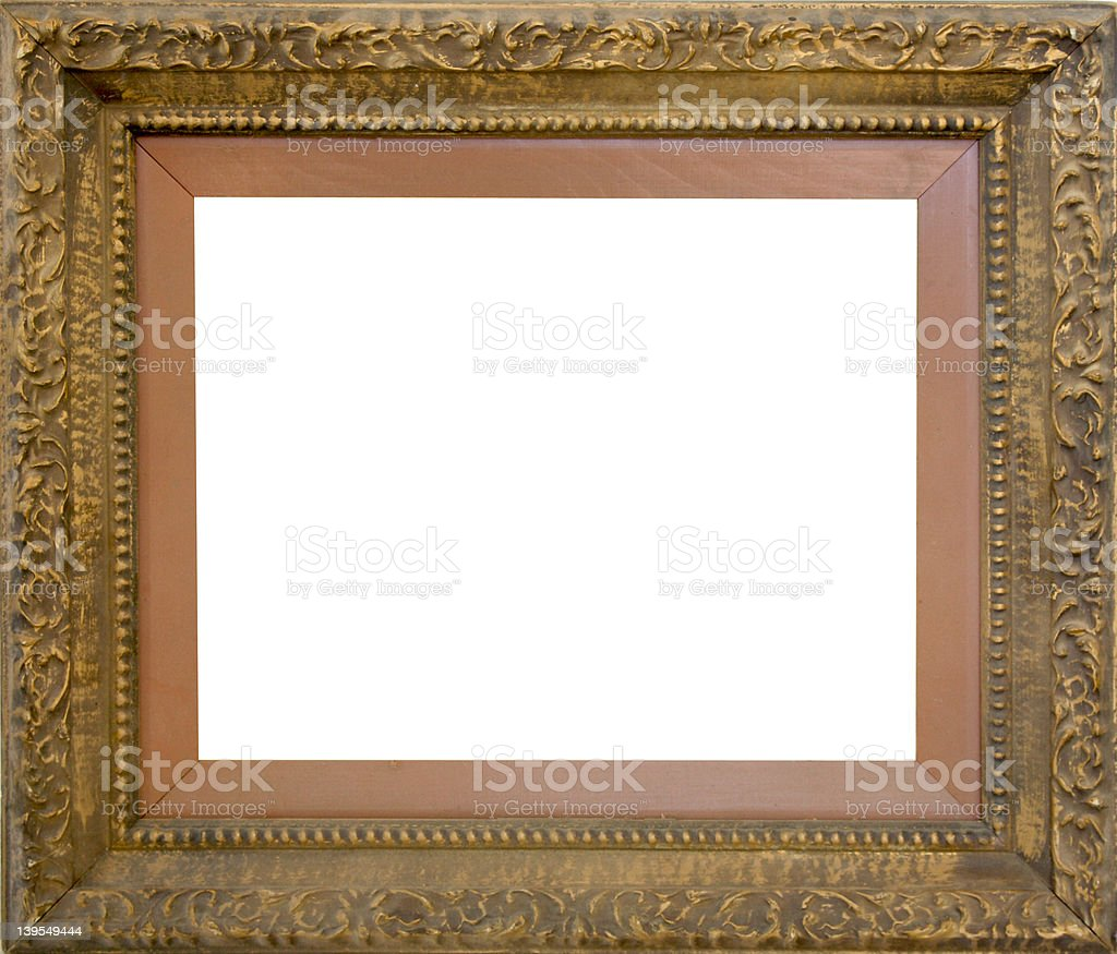 Antique carved wood picture frame w/path royalty-free stock photo