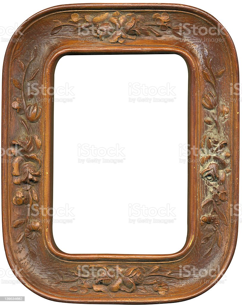 Antique carved wood picture frame w/work path royalty-free stock photo