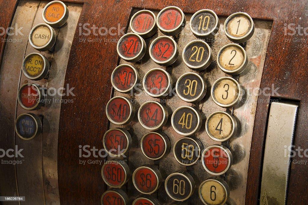 Antique Cash Register Buttons stock photo