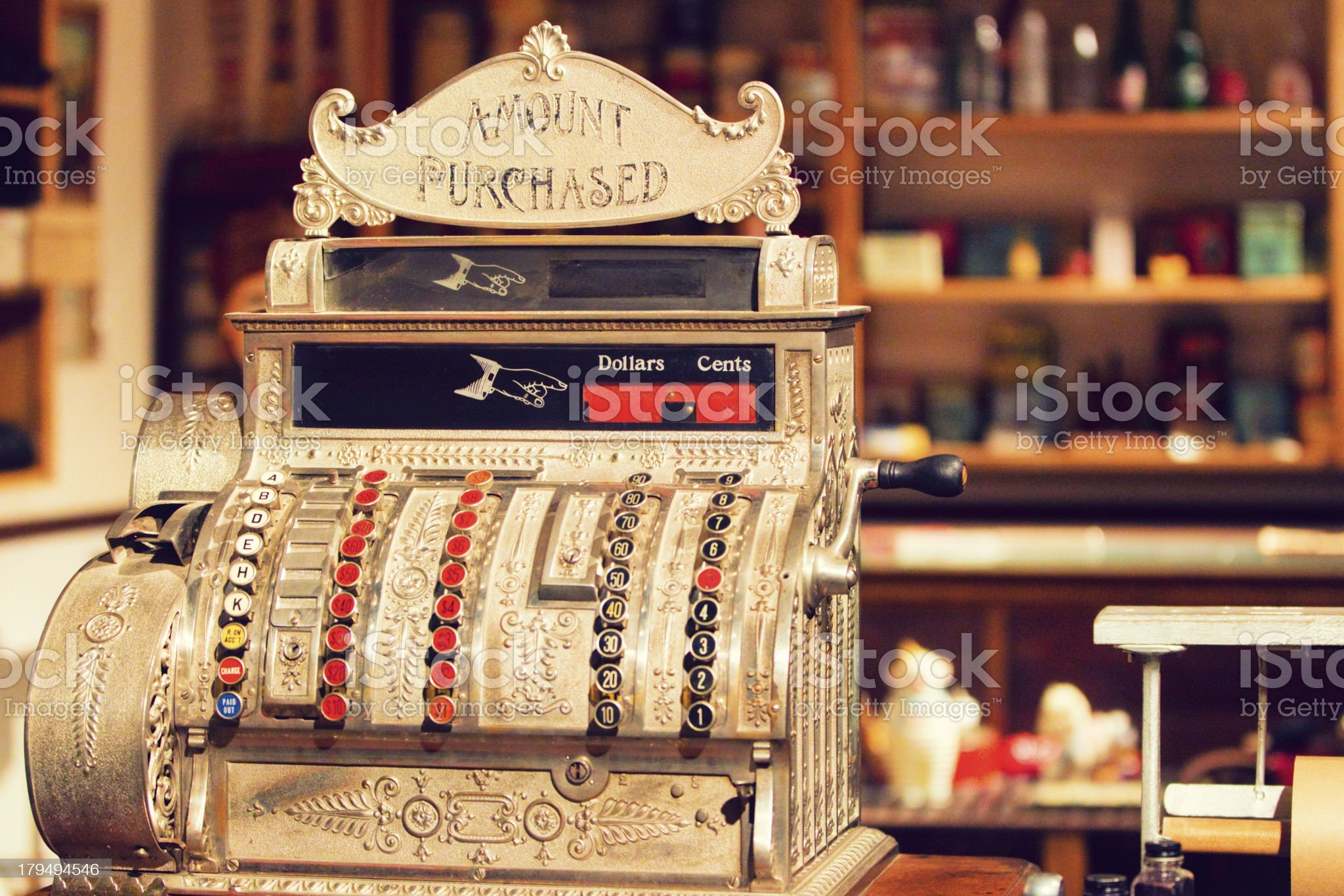 Antique Cash Register in Old General Store royalty-free stock photo