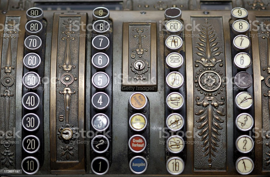 Antique cash register keys royalty-free stock photo