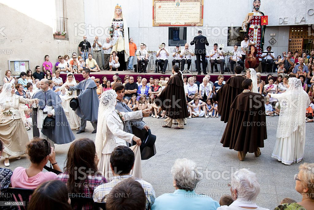 Antique catalan ceremonial dance, Ball del Ciri royalty-free stock photo