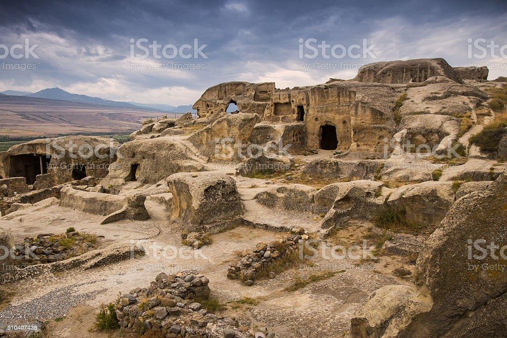 Antique cave city Uplistsikhe, Georgia stock photo