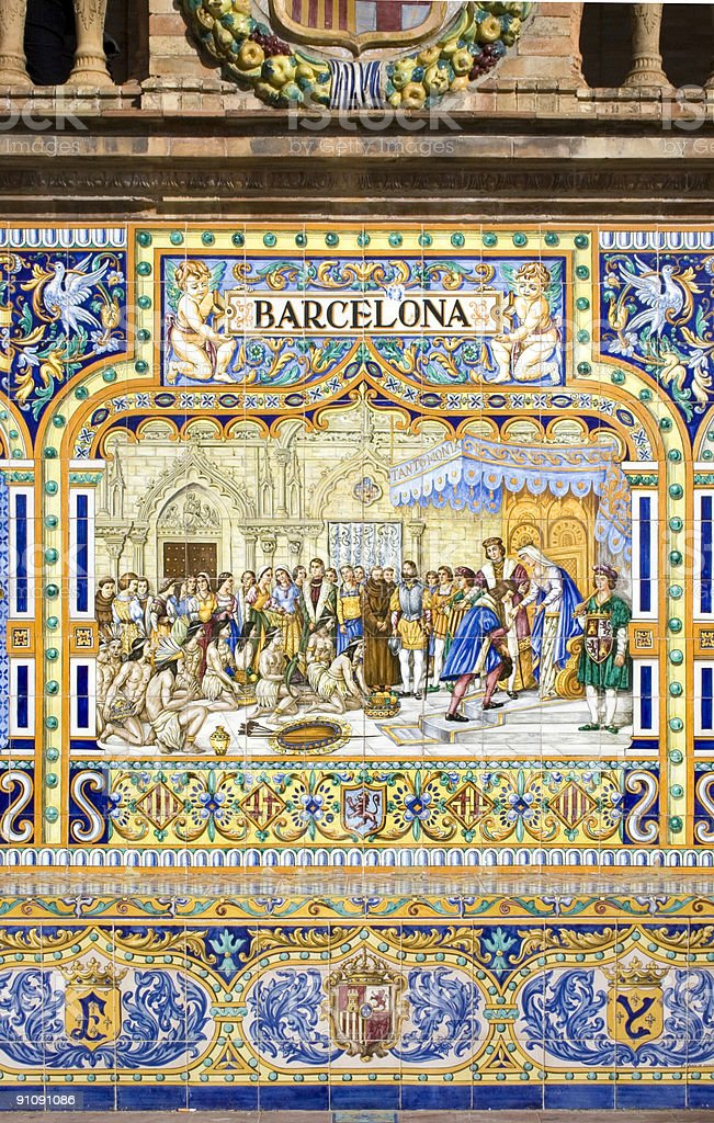 Antique ceramic wall tiles depicting Barcelona stock photo