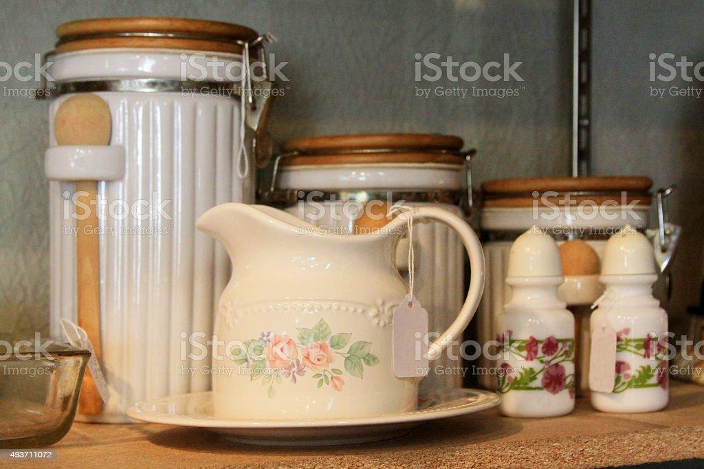 Antique Ceramics and Kitchen Items stock photo