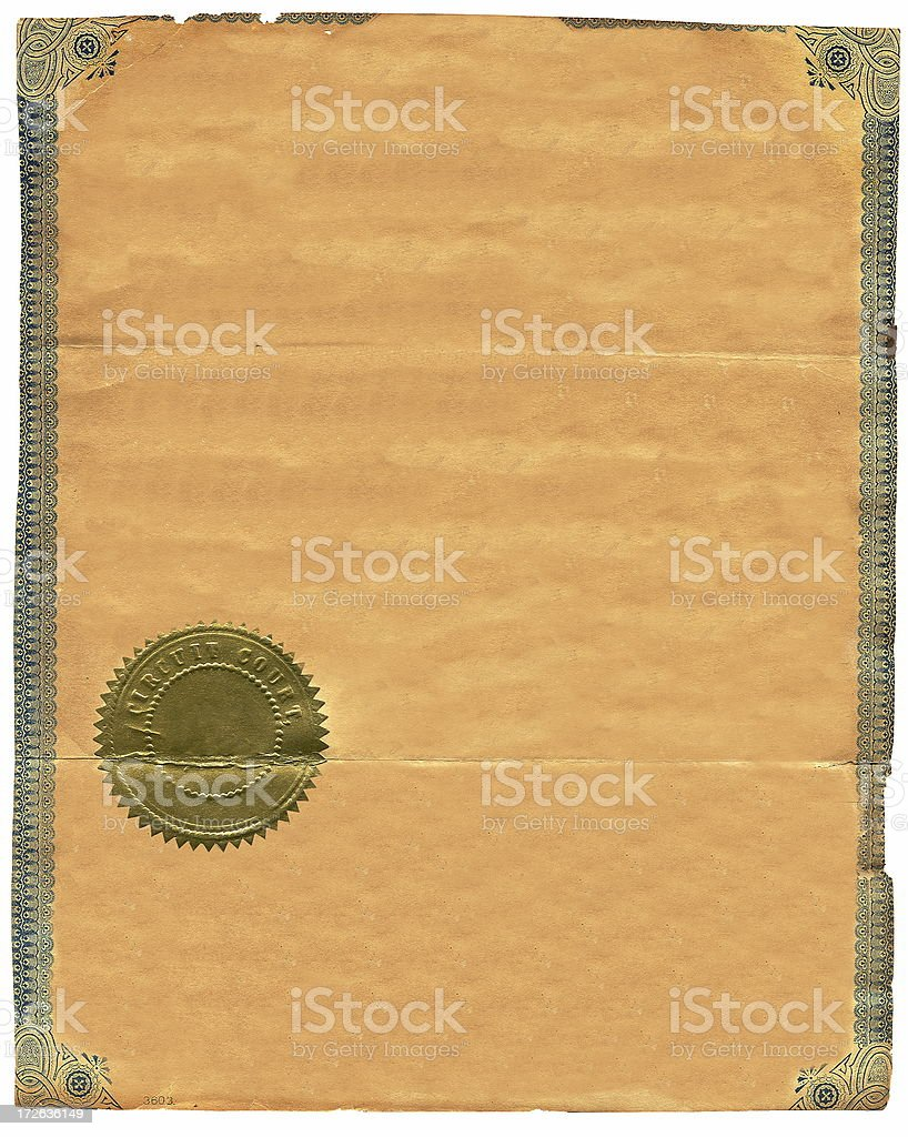 Antique Certificate with Seal stock photo
