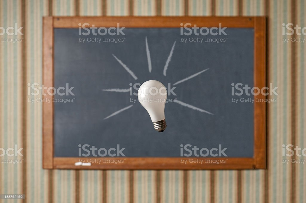 Antique Chalkboard With Lightbulb royalty-free stock photo