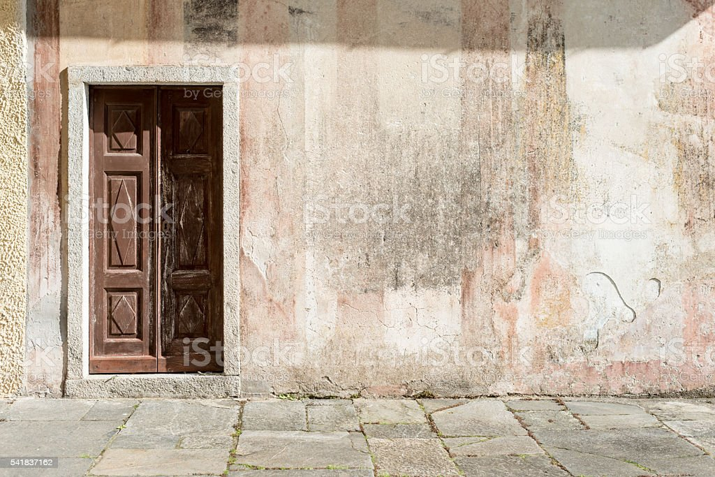Antique chapel wood door with copy space stock photo