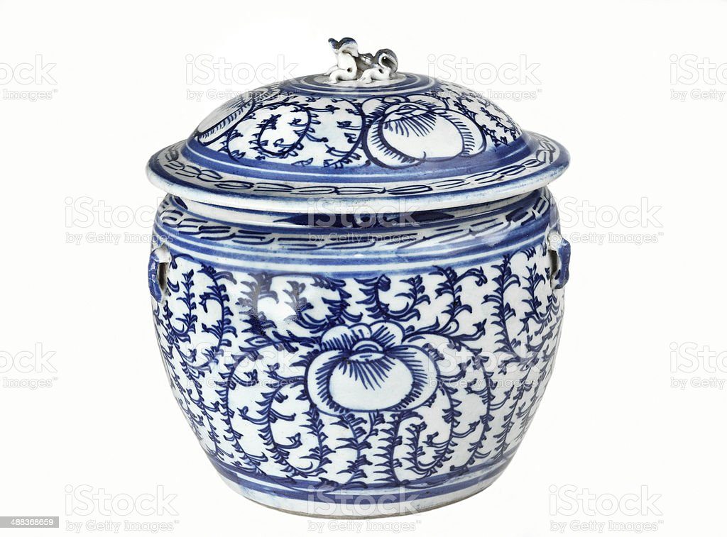 Antique Chinese blue and white porcelain jar stock photo