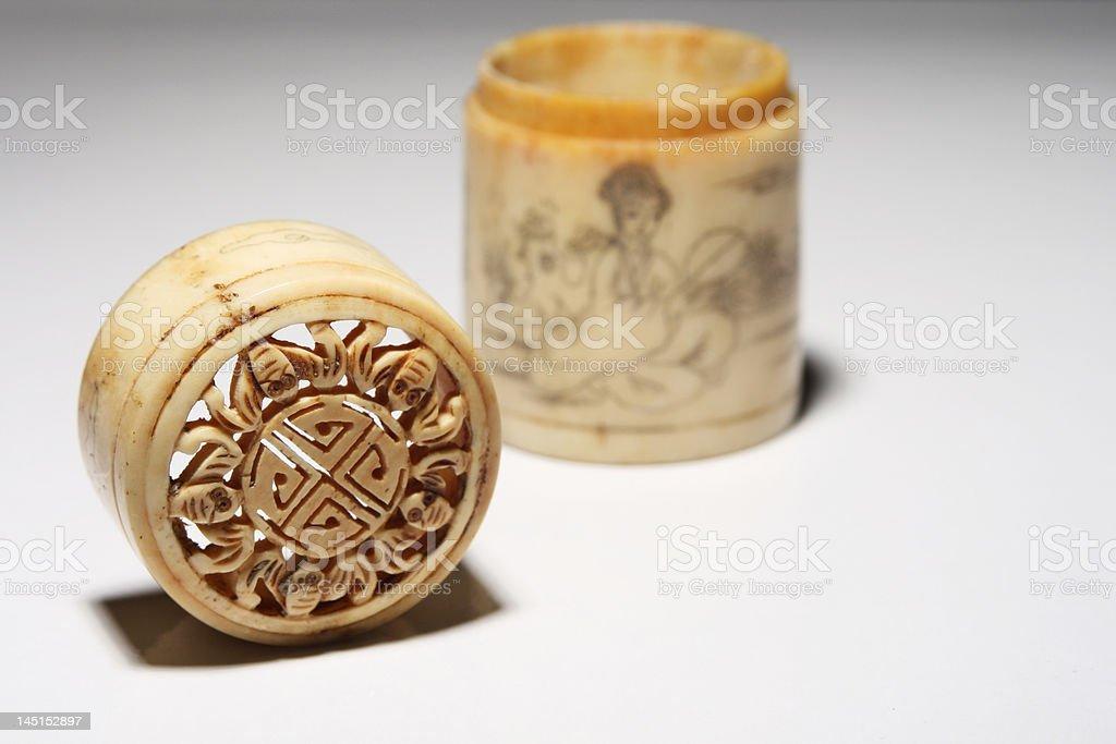 antique chinese bone case royalty-free stock photo
