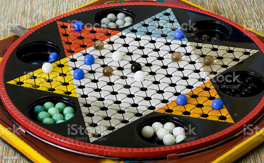 Antique chinese checkers game stock photo