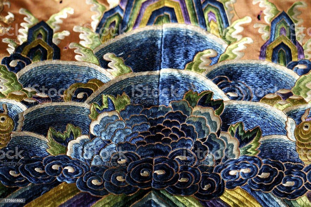 Antike chinesische Stickerei Lizenzfreies stock-foto