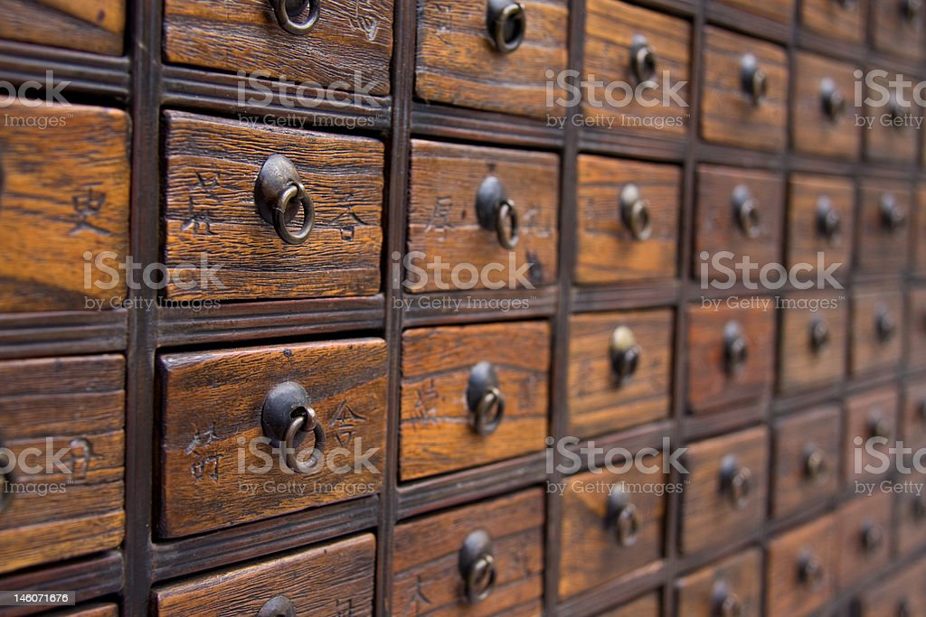 Antique Chinese Medicine Chest stock photo