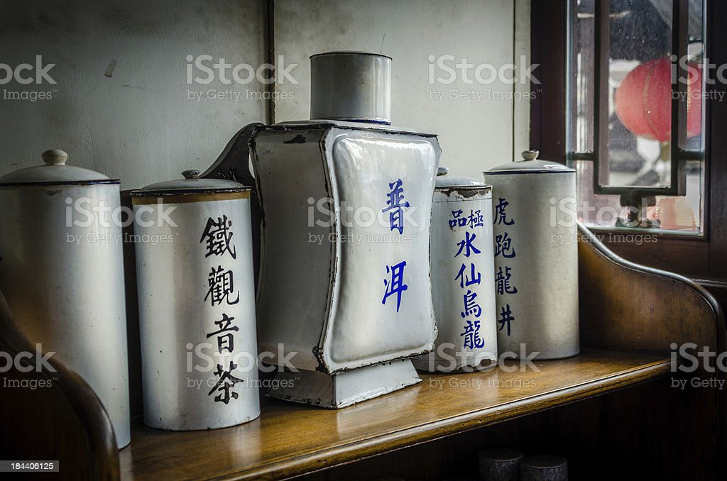 Antique Chinese tea Containers royalty-free stock photo