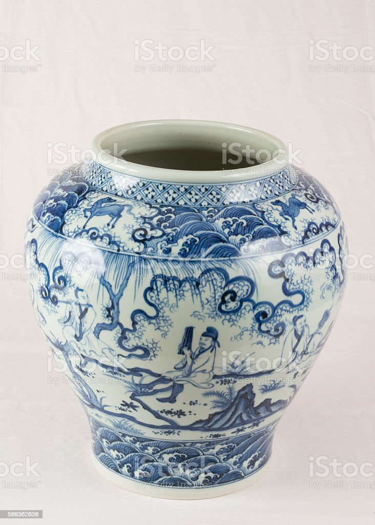 Antique Chinese under glazed blue and white wine jar stock photo