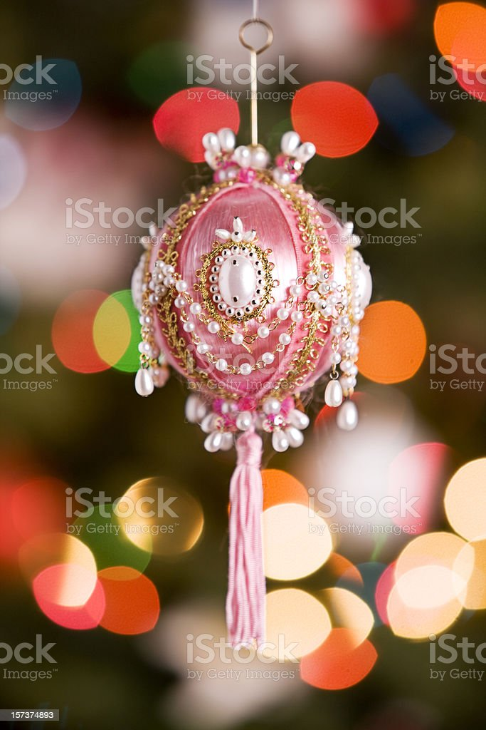 Antique Christmas Ornament with Blurred Tree Lights, Copy Space royalty-free stock photo