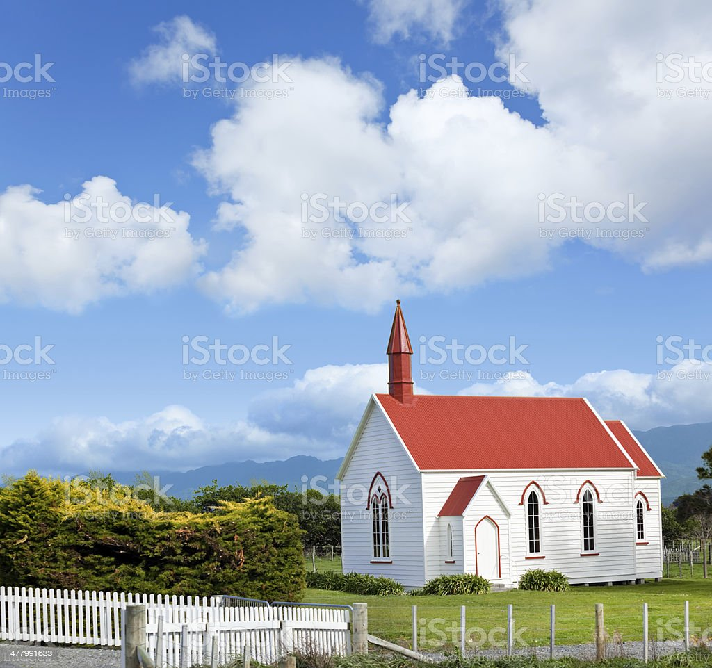 Antique church in New Zealand stock photo