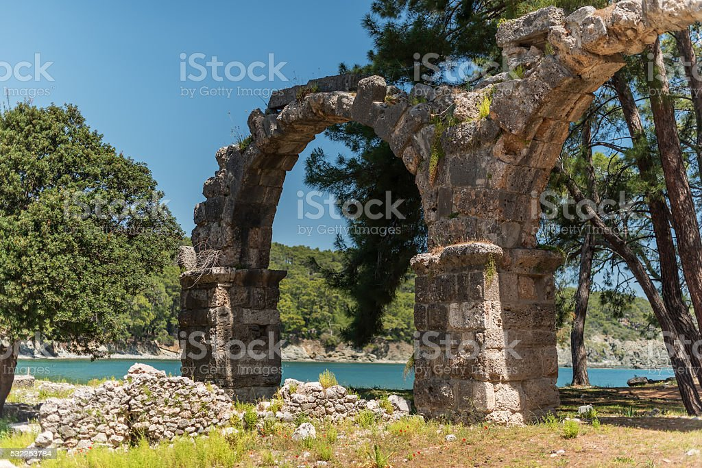 Antique city of Phaselis, Antalya Destrict, Turkey: aqueduct stock photo