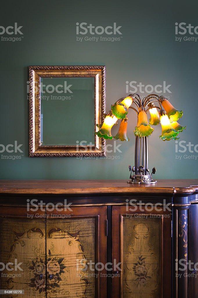 Antique Classic Furnishing and Art Nouveau Lighting Fixture stock photo