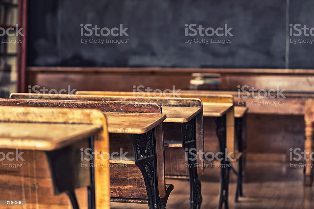 Antique Classroom Student Desks stock photo